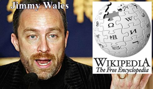 Picture of Jimmy Wales beside Wikipedia Logo